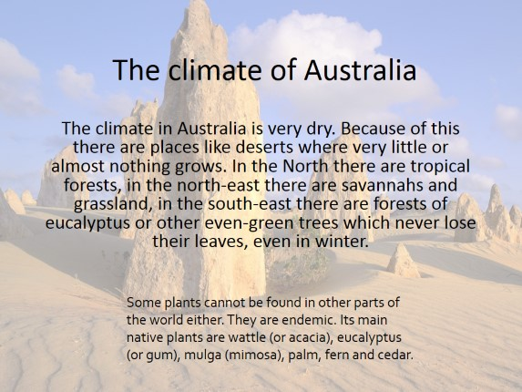 Australia - Main features of climate, flora and fauna