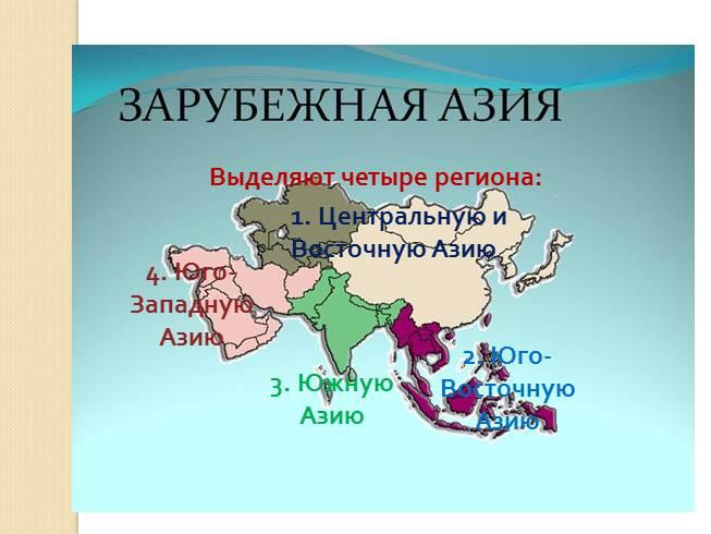 Зарубежная азия занимает территорию