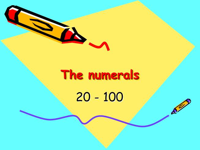 The numerals from 20 till 100