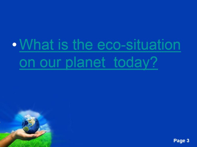 Ecology - Save the Earth