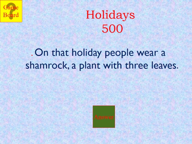 Jeopardy «Holidays»
