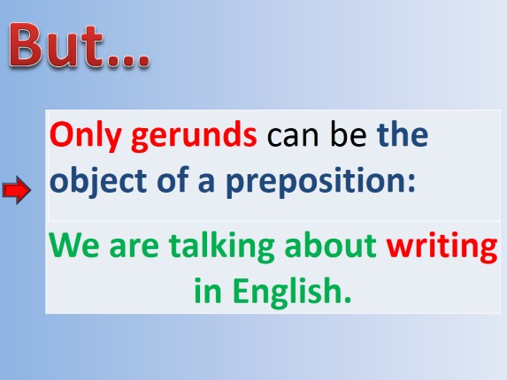 gerund as an object of preposition The sentence has a gerund functioning as the object of a preposition is letter b) driving delights me when i take off spontaneously for random destinations.
