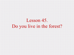 Lesson 45. Do you live in the forest?