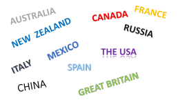 France. Australia. Canada. Russia. New zealand. Mexico. The usa. Italy. Spain. China. Great britain