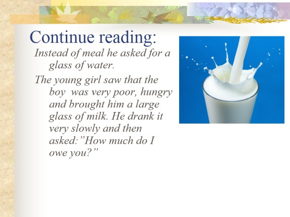 Interactive Reading «A Glass of Milk»