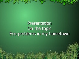 On the topic Eco-problems in my hometown Rostov-on-Don