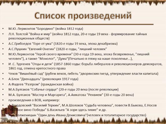 Лермонтов проза список